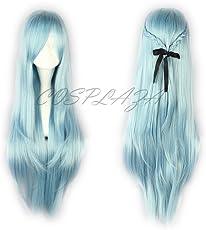 COSPLAZA Perücke lang Blau Anime Cosplay Wigs Sword Art Online Asuna Haar