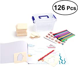 YeahiBaby Wooden Drawing Stencil Set for Kids | Painting Templates, Painting Boards with Colorful Pens
