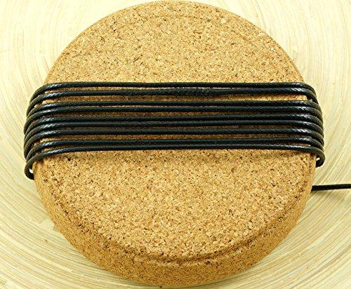 4M 13.2 Ft 4.4 Yds Jet Black Koreanisch Gewachsten Schnur Polyester Dekorativen Perlen-String-Thread-Draht-Umsponnenes Seil Verdreht Armband Schnur 1,5 mm (Thread Geflecht Gewachst)