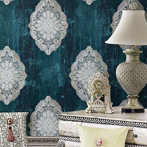 Rollo de papel pintado vintage de damasco rojo de lujo, de vinilo con relieve profundo para dormitorio, sala de estar, hotel, decoración de pared, de 52,8 cm x 10 m, 1 Blue / Metallic Silver Flower Damask Wallpaper, 393.7inx20.8in