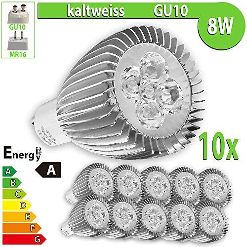 LEDVero HP71 Lot de 10 spots LED haute puissance GU10 Blanc froid 8 W