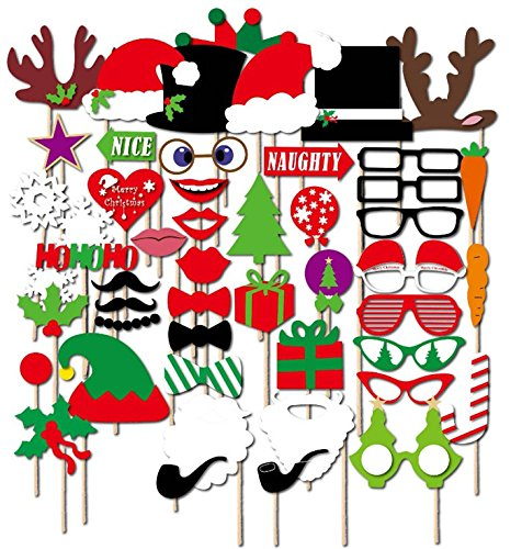50 Stück DIY Foto-Requisiten Weihnachtsdekoration, Weihnachtsmütze, Party-Masken, Foto-Requisiten, lustige Maske, Fotografie, Brille, Schnurrbart, Weihnachten, Fotodekoration.