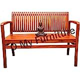 O My Furniture Spline Back Support Sofa Teak Finish Bench