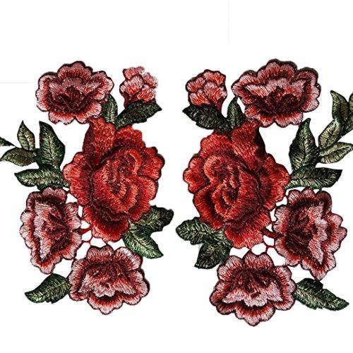 Coolster Blumen Applique Bestickte Patch Kragen Floral Appliques Nähen auf Patches Nähen DIY Bekleidung Zubehör Craft Kids Bekleidung Hut Bag Decor (2pcs rot 2) (Floral Schuhe Stoff)
