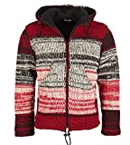 Nepal Damen Strickjacke Goa Wolle Jacke mit Fleecefutter und Abnehmbarer Zipfelkapuze, Size/Größe:34