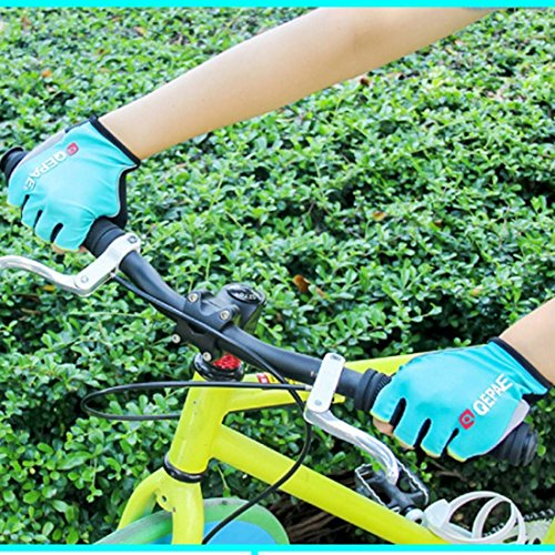 Lerway MTB Fahrrad Halbe Finger Radsport Fahrrad Handschuhe Motorrad handschuhe (Blau , M)