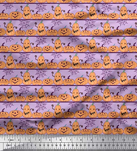 Soimoi Lila Baumwolljersey Stoff Spinnennetz & Kürbis Halloween Drucken Nahen Stoff 1 Meter 58 Zoll breit