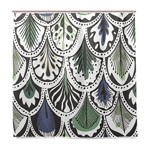 Mnsruu Shower Curtains with Hooks 72x72 Inches Bohemian Style Feather Pattern Bathroom Decor Polyester Fabric Mildew Resistant Waterproof -