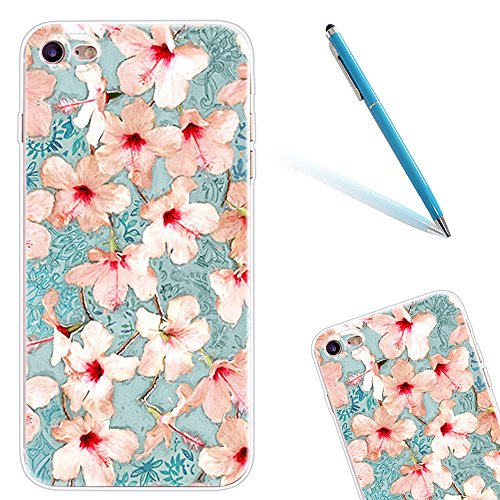"iPhone 6sPlus Hülle, Retro Flower Series CLTPY iPhone 6Plus Dünne Matt Malereifarbig Weich Silikon Handytasche, Kreativ Leichtbau Protektiv Schale Fall für 5.5"" Apple iPhone 6Plus/6sPlus (Nicht iPhone Pinke Blume"