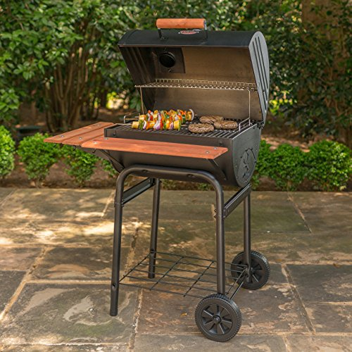 Char Griller Unknown 2123 Wrangler 635 Square Inch Charcoal Grill/Smoker, Black, 50″ H x 29″ W x 35″ L