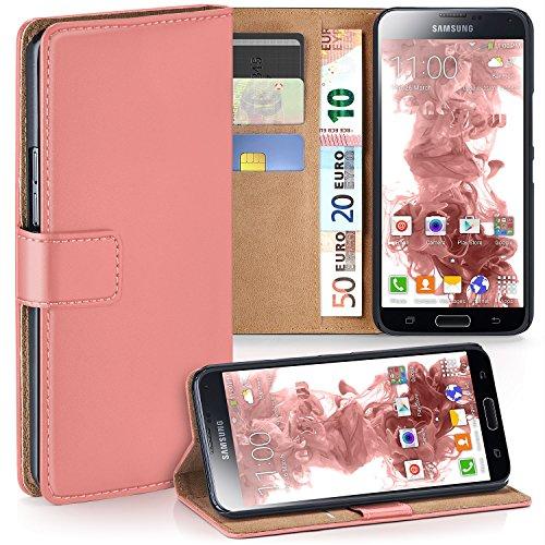 OneFlow PREMIUM - Book-Style Custodia con design portamonete e funzione stand per Samsung Galaxy S5 mini - CORAL-ROSE