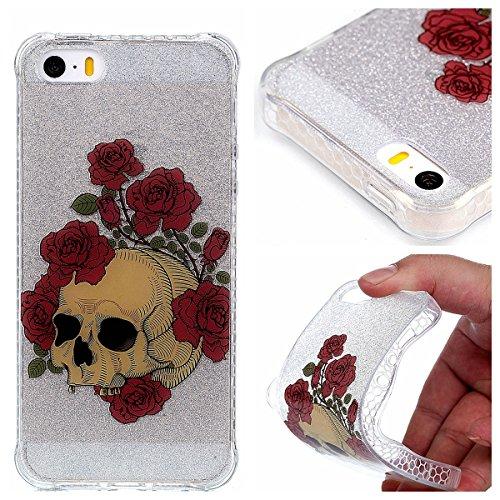 Coque iPhone SE/5/5s, Cozy Hut® [ Anti-Scratch] Ultra Mince Premium TPU silicone Case [Bling Crystal] ** Eclatant et Brillant ** Glitter Crystal Quartz / Bumper-Style / Anti-choc / Adherence exacte /  Crâne Rose