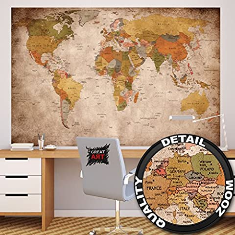 Wallpaper used look – wall picture decoration Globe Continents Atlas World Map Earth Geography retro old school vintage map I paperhanging Wallpaper poster wall decor by GREAT ART (82.7 Inch x 55 Inch/210 x 140 cm)