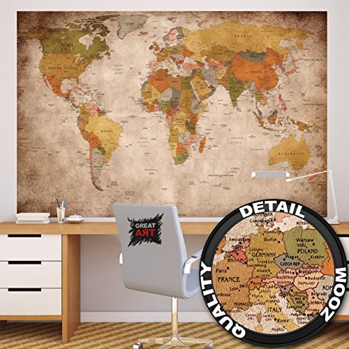 Wall art london map amazon great art photo wallpaper vintage world map quirky retro wall picture xxl wall map 210 x 140 cm gumiabroncs Gallery