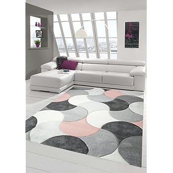 Designer Und Moderner Teppich Kurzflor Mit Tropfen Muster In Rosa