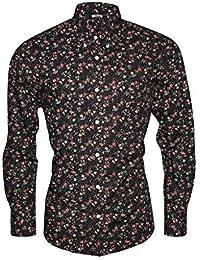 Relco Noir Hommes Multicolore Floral Manche Longue Boutonné Chemise Vintage Mod