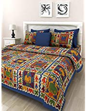 Monik Handicrafts Cotton Rajasthani King Size Double Bedsheet with 2 Pillow Cover (Blue)