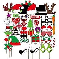 50 Piezas Navidad Photocall Photo Booth Accesorios Favorecer para Las Decoraciones de Navidad