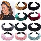 Fluwelen gebreide knoop hoofdbanden, 10 stuks elastische brede haarband tulband antislip lint geknoopte hoofdbanden voor vrou