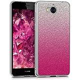 kwmobile Funda para Huawei Y6 (2017) - forro de TPU silicona cover protector para móvil - Case Diseño Brillo en degradé rosa fucsia plata transparente