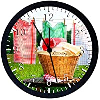 "Laundry Room Laundromat Silent Non-Ticking 12"" Large Wall Clock Glass Nice for Gift or Wall Decor G31"