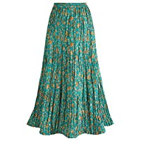 CATALOG CLASSICS Women's Peasant Skirt - Reversible Long Cotton Green Maxi Skirt - XL
