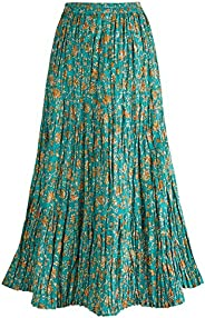 CATALOG CLASSICS Women's Peasant Skirt - Reversible Long Cotton Green Maxi S