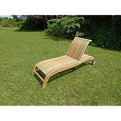Teck'Line MJEBSWAVP Wave Chaise Longue Bain de Soleil Teck Premium Naturel 200 x 65 x 50 cm