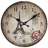 Perla PD Design Orologio da parete orologio da cucina Design Vintage ca. Ø 28cm, Legno, Eifelturm Rose
