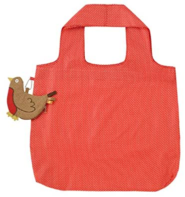 Packable Red Shopping Bag with Robin Red Breast Pouch
