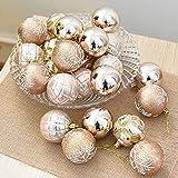 FeiliandaJJ 6CM Eine Schachtel mit 24 Weihnachtskugeln Weihnachten Deko Anhänger Christbaumkugeln Dekorationen Kugeln Party Hochzeit Ornament (Khaki)