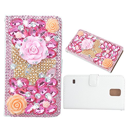 Evtech (tm) Schmetterling Blumen Strass Bling Kristall Glitter-Buch-Art-Folio-PU-Leder-Mappen-Kasten mit Handtasche Handyhalter & Kartensteckplätze for Samsung Galaxy Note 4