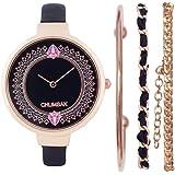 Chumbak Classic Watch & Bracelet Set - Black - Jewelry Watch, Wrist Watch for Women, Dress Watch, Fashion Accessory with Brac