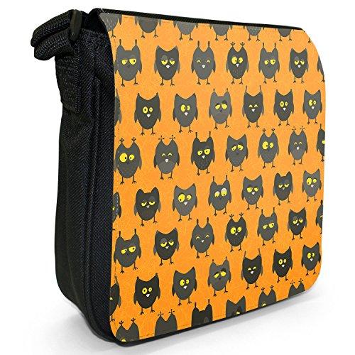 Big Eye-Carta da parati, motivo: gufo, colore: nero, Borsa a tracolla in tela, taglia: S Drowsy Looking Black Owls