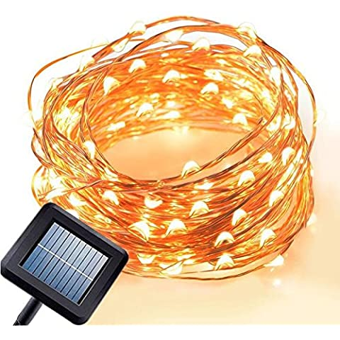Emwel Solar Powered LED String Lights 10M/33FT 100 LEDs Outdoor Solar Powered LED String Lights Waterproof Copper Wire Lights for Garden Party (Warm