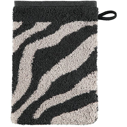 Cawö Waschhandschuh Jacquard schwarz-grau Größe 16x22 cm (Jacquard-waschlappen)