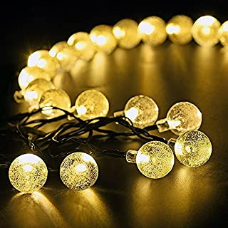 Solar Outdoor String Lights, Yuheng 19.7 ft 30 LED Fairy Light Warm White Crystal Ball Christmas Globe Lights for Garden Path, Party, Bedroom Yard Deck Decoration
