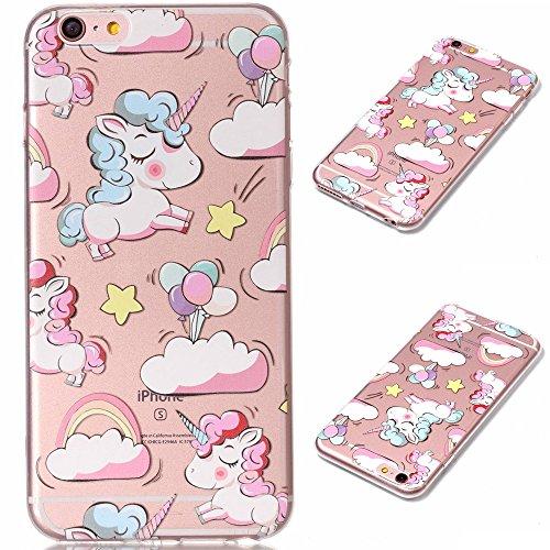 Fodlon® Chat Transparent Soft Case pour Apple iphone 6/6s Clouds unicorn