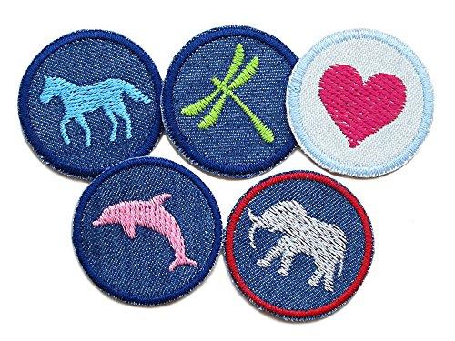 Set 5 Jeansflicken Pferd Libelle Herz Delfin Elefant Patches gestickt Flicken zum aufbügeln für Mädchen (Delfine Fünf)