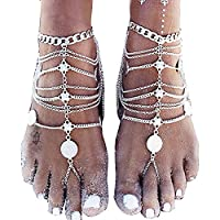 Comfysail 1 Pair Boho Indian Style Tassel Ankle Bracelet for Women Barefoot Sandal Beach Foot Jewelry Chain Anklet Silver Tone or Gold Tone (Silver)