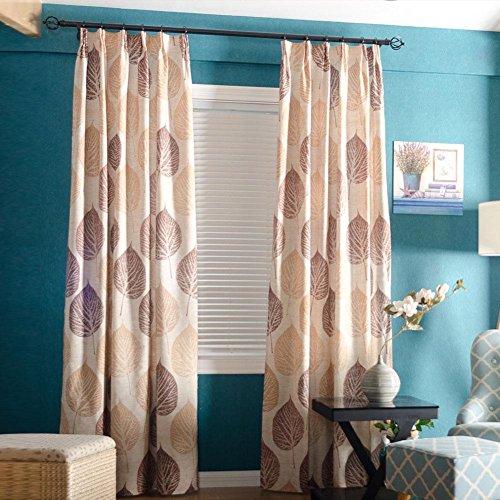 Fenster Vorhänge für Schlafzimmer Maple Leaf Printed Cotton Wohnzimmer Vorhang Vorhänge, 2 Panels , color 1 , 140*213cm -