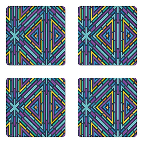 Geometric Coaster Set of Four with Cork Backing