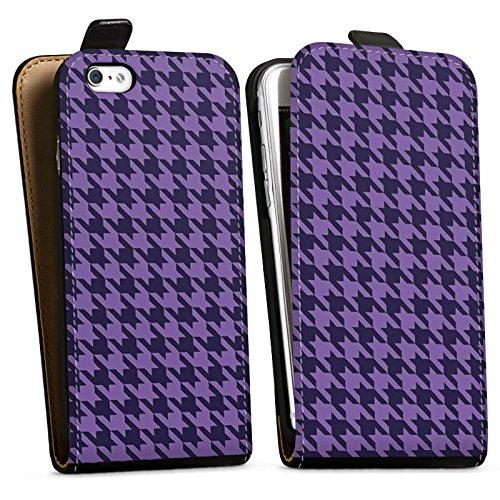 Apple iPhone X Silikon Hülle Case Schutzhülle Hahnentritt Lila Punkte Downflip Tasche schwarz