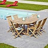 Salon de jardin en bois de TECK BRUT QUALITE GRADE A 6/8 pers - Table ronde/ovale 120/170cm + 6 chaises
