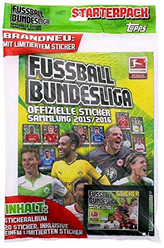 Topps - Deutsche Fußball Bundesliga 2015/16 Sammel Sticker - Sammel Album (mit 4 Tütchen & Thomas Müller-Karte) (Album + Starter Karten) (2015 Topps Fußball Karten)