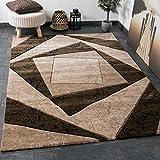 VIMODA Moderner Designer Teppich Karo Design Kariert Muster in Braun Meliert mit Handgeschnittene Konturen Top Qualität Sehr Pflegeleicht 160x230 cm