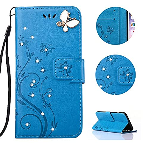 Sycode Case for Galaxy S6 Edge,Wallet Case for Galaxy S6 Edge,Flip Case for Samsung Galaxy S6 Edge,Embossed Butterfly and Flowers DIY Premium Pu Leather Luxury Bling Glitter Crystal Diamond Rhinestone Shiny Sparkle Elegant Book Style Lanyard Hand Wrist Strap Magnetic Buckle Closure Protective Wallet Case Cover with Card Slots and Stand Function for Samsung Galaxy S6