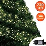 Weihnachtsbeleuchtung 720 LED 9m Warmweiß Außen Cluster Baumbeleuchtung String Innenlichterkette Memory Timer Netzbetrieben Beleuchtet Länge 10m Dachrinne Grünes Kabel