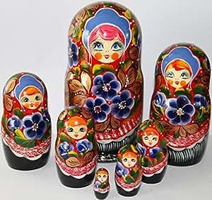 Matriochka poupées gigognes russes chiffon coloriage fleurs en bois art 7pc