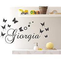 Adesivi Murali Nome personalizzato bambini farfalle e cerchi pois Adesivo Murale cameretta Wall Stickers Personalizzato…